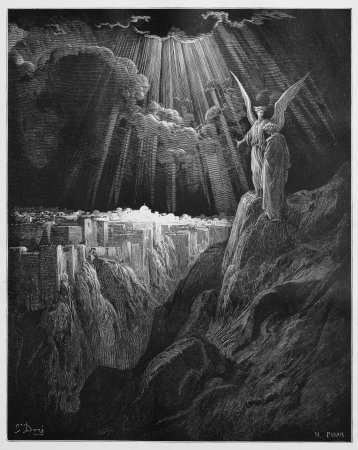 The New Jerusalem - Picture from The Holy Scriptures, Old and New Testaments books collection published in 1885, Stuttgart-Germany. Drawings by Gustave Dore.  Editorial