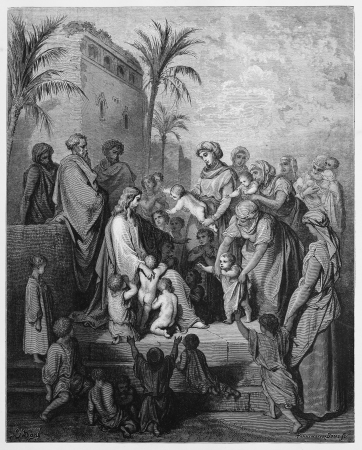 Jesus blesses the little children - Picture from The Holy Scriptures, Old and New Testaments books collection published in 1885, Stuttgart-Germany. Drawings by Gustave Dore. Editorial