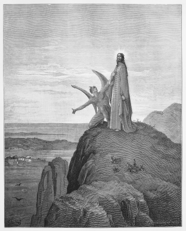 The Temptation of Jesus - Picture from The Holy Scriptures, Old and New Testaments books collection published in 1885, Stuttgart-Germany. Drawings by Gustave Dore.  Editorial