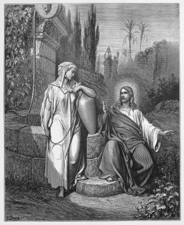 Jesus and the woman from Samaria - Picture from The Holy Scriptures, Old and New Testaments books collection published in 1885, Stuttgart-Germany. Drawings by Gustave Dore.
