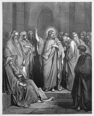 biblical events: Jesus Preaches in the Synagogue - Picture from The Holy Scriptures, Old and New Testaments books collection published in 1885, Stuttgart-Germany. Drawings by Gustave Dore.  Editorial