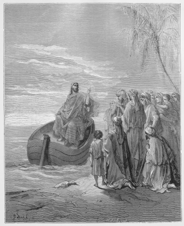 Jesus Preaching at the Sea of Galilee - Picture from The Holy Scriptures, Old and New Testaments books collection published in 1885, Stuttgart-Germany. Drawings by Gustave Dore.  Editorial