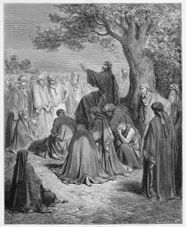 testaments: Jesus preaches to the people - Picture from The Holy Scriptures, Old and New Testaments books collection published in 1885, Stuttgart-Germany. Drawings by Gustave Dore.