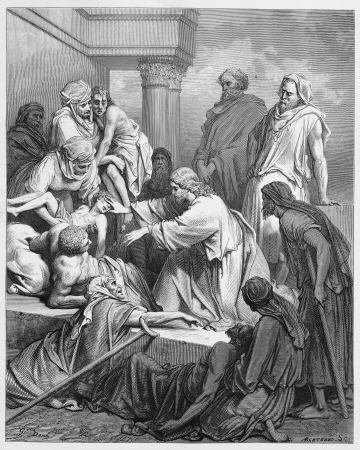 biblical: Jesus healing in the land of Gennesaret - Picture from The Holy Scriptures, Old and New Testaments books collection published in 1885, Stuttgart-Germany. Drawings by Gustave Dore.