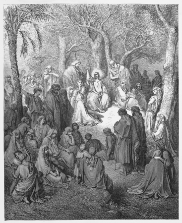 the sermon: Jesus preaches the Sermon on the Mount - Picture from The Holy Scriptures, Old and New Testaments books collection published in 1885, Stuttgart-Germany. Drawings by Gustave Dore.  Editorial