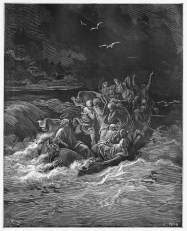 Jesus Stilling the storm - Picture from The Holy Scriptures, Old and New Testaments books collection published in 1885, Stuttgart-Germany. Drawings by Gustave Dore.