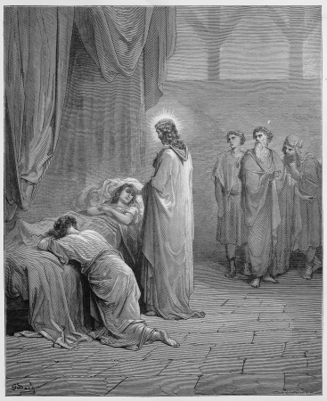 raises: Jesus raises the daughter of Jairus from the dead - Picture from The Holy Scriptures, Old and New Testaments books collection published in 1885, Stuttgart-Germany. Drawings by Gustave Dore.