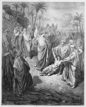 Jesus heals an epileptic - Picture from The Holy Scriptures, Old and New Testaments books collection published in 1885, Stuttgart-Germany. Drawings by Gustave Dore. Editorial