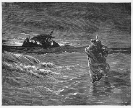 biblical: Jesus walks on the sea - Picture from The Holy Scriptures, Old and New Testaments books collection published in 1885, Stuttgart-Germany. Drawings by Gustave Dore. Editorial