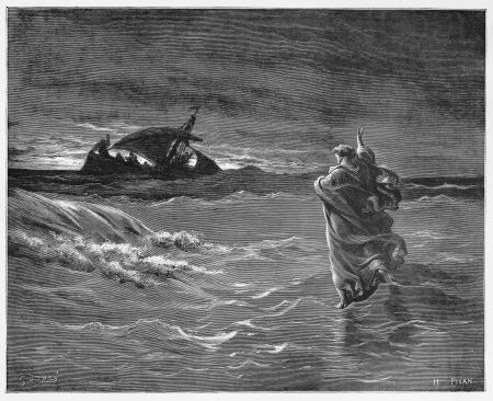 Jezus loopt over de zee - Foto van de Heilige Schrift, het Oude en het Nieuwe Testament boeken collectie gepubliceerd in 1885, Stuttgart-Duitsland. Tekeningen van Gustave Dore.