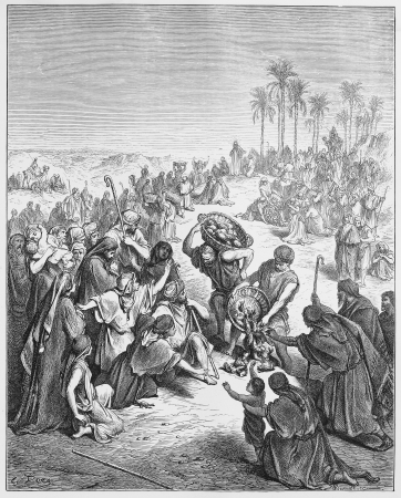 Jesus feeds the people - Picture from The Holy Scriptures, Old and New Testaments books collection published in 1885, Stuttgart-Germany. Drawings by Gustave Dore.  Editorial