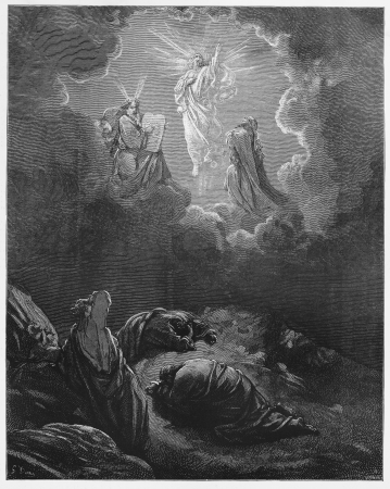 biblical: The Transfiguration - Picture from The Holy Scriptures, Old and New Testaments books collection published in 1885, Stuttgart-Germany. Drawings by Gustave Dore. Editorial