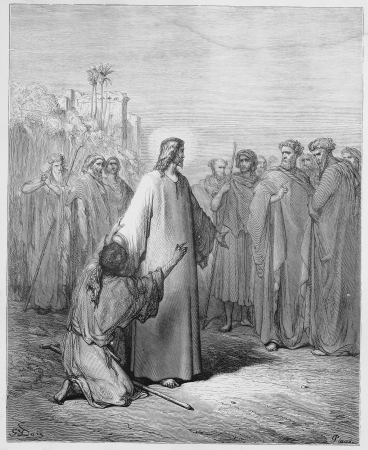 biblical: Jesus healing the demoniac boy - Picture from The Holy Scriptures, Old and New Testaments books collection published in 1885, Stuttgart-Germany. Drawings by Gustave Dore.