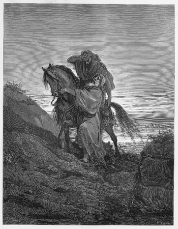 The Good Samaritan - Picture from The Holy Scriptures, Old and New Testaments books collection published in 1885, Stuttgart-Germany. Drawings by Gustave Dore.