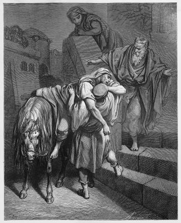 biblical: Arrival of the Good Samaritan at the Inn - Picture from The Holy Scriptures, Old and New Testaments books collection published in 1885, Stuttgart-Germany. Drawings by Gustave Dore.  Editorial