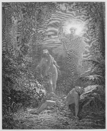 adam: The formation of Eve - Picture from The Holy Scriptures, Old and New Testaments books collection published in 1885, Stuttgart-Germany. Drawings by Gustave Dore.