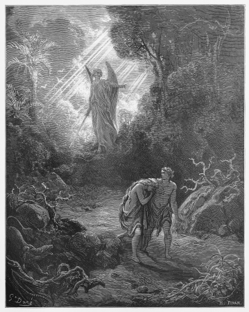 garden of eden: Sacrifices driven out of Eden - Picture from The Holy Scriptures, Old and New Testaments books collection published in 1885, Stuttgart-Germany. Drawings by Gustave Dore.