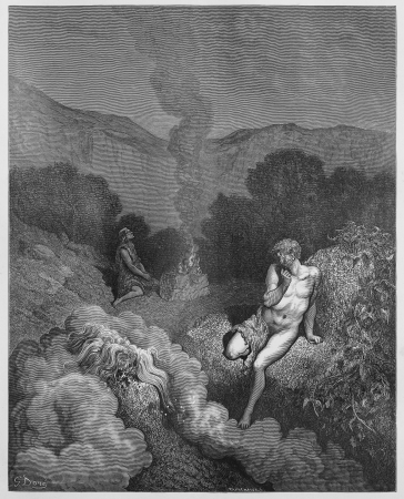 sacrifices: Cain and Abel offering their sacrifices - Picture from The Holy Scriptures, Old and New Testaments books collection published in 1885, Stuttgart-Germany. Drawings by Gustave Dore.