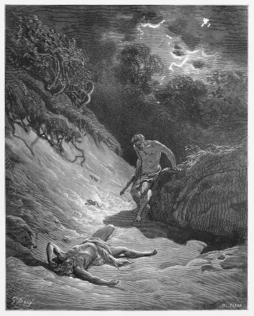 The death of Abel - Picture from The Holy Scriptures, Old and New Testaments books collection published in 1885, Stuttgart-Germany. Drawings by Gustave Dore.