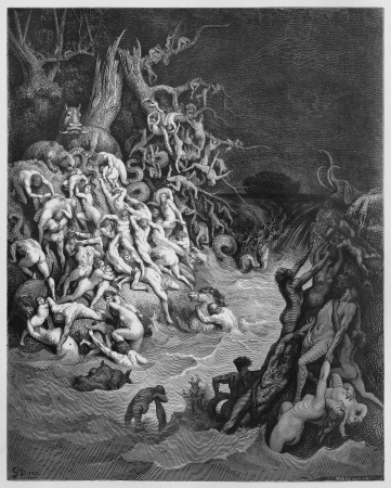 The world destroyed by water - Picture from The Holy Scriptures, Old and New Testaments books collection published in 1885, Stuttgart-Germany. Drawings by Gustave Dore. Editorial