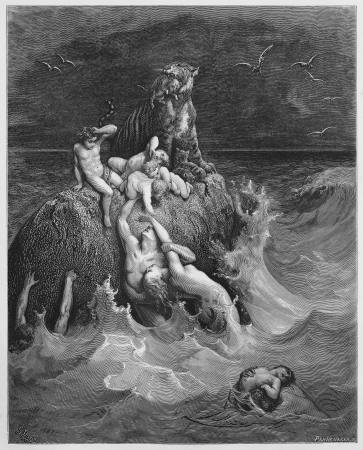 noe: The Deluge - Picture from The Holy Scriptures, Old and New Testaments books collection published in 1885, Stuttgart-Germany. Drawings by Gustave Dore.
