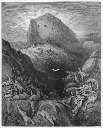 noe: The Dove sent forth from the Ark - Picture from The Holy Scriptures, Old and New Testaments books collection published in 1885, Stuttgart-Germany. Drawings by Gustave Dore.