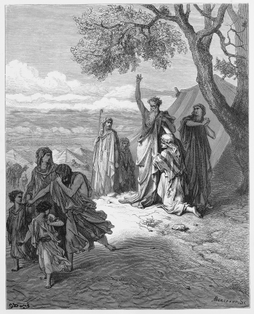 testaments: Noah cursing Canaan - Picture from The Holy Scriptures, Old and New Testaments books collection published in 1885, Stuttgart-Germany. Drawings by Gustave Dore.