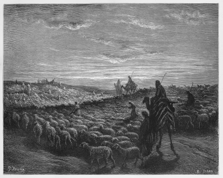 biblical events: Abraham Journeying into the Land of Canaan - Picture from The Holy Scriptures, Old and New Testaments books collection published in 1885, Stuttgart-Germany. Drawings by Gustave Dore.