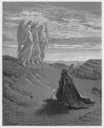 biblical: Abraham and the Three Angels - Picture from The Holy Scriptures, Old and New Testaments books collection published in 1885, Stuttgart-Germany. Drawings by Gustave Dore.  Editorial