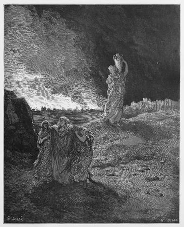 sacra famiglia: Lot e la sua famiglia fugge da Sodoma - Foto da Le Sacre Scritture, Vecchio e Nuovo Testamento di raccolta libri pubblicati nel 1885, Stoccarda-Germania. Disegni di Gustave Dore.