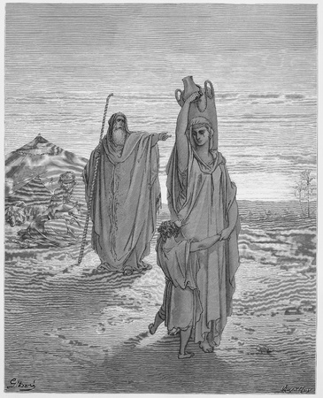 biblical: Abraham sends Hagar and Ishmael away - Picture from The Holy Scriptures, Old and New Testaments books collection published in 1885, Stuttgart-Germany. Drawings by Gustave Dore.  Editorial