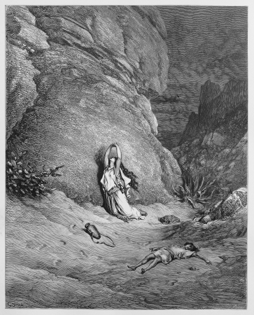 Hagar and Ishmael in the wilderness - Picture from The Holy Scriptures, Old and New Testaments books collection published in 1885, Stuttgart-Germany. Drawings by Gustave Dore.