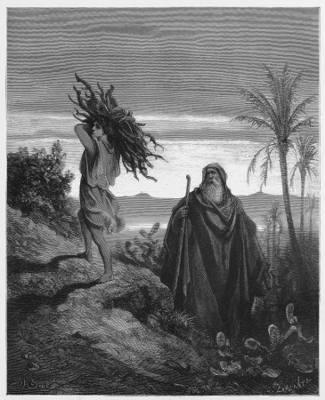 biblical: The testing of Abrahams faith - Picture from The Holy Scriptures, Old and New Testaments books collection published in 1885, Stuttgart-Germany. Drawings by Gustave Dore.
