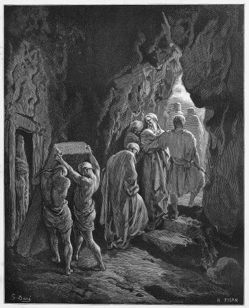 Burial of Sarah - Picture from The Holy Scriptures, Old and New Testaments books collection published in 1885, Stuttgart-Germany. Drawings by Gustave Dore.  Editorial