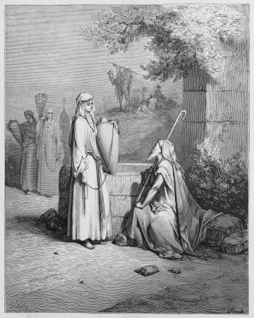 Eliezer and Rebekah - Picture from The Holy Scriptures, Old and New Testaments books collection published in 1885, Stuttgart-Germany. Drawings by Gustave Dore.