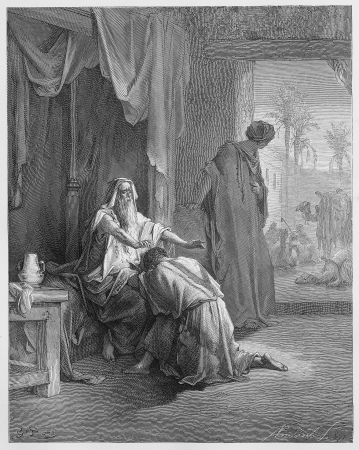 holy bible: Isaac Blessing Jacob - Picture from The Holy Scriptures, Old and New Testaments books collection published in 1885, Stuttgart-Germany. Drawings by Gustave Dore.