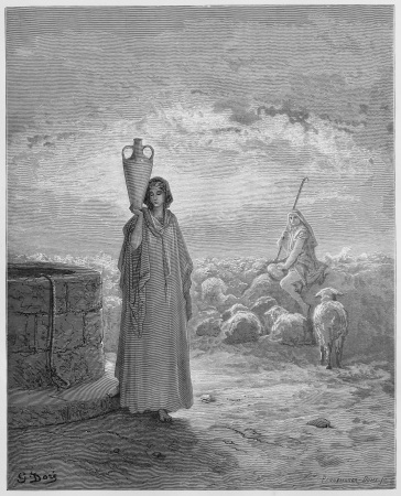 jacob: Jacob keeping Labans flocks - Picture from The Holy Scriptures, Old and New Testaments books collection published in 1885, Stuttgart-Germany. Drawings by Gustave Dore.