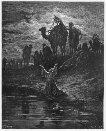 testaments: The prayer of Jacob - Picture from The Holy Scriptures, Old and New Testaments books collection published in 1885, Stuttgart-Germany. Drawings by Gustave Dore. Editorial