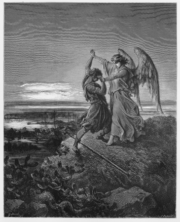 ange: Jacob wrestles with the angel - Picture from The Holy Scriptures, Old and New Testaments books collection published in 1885, Stuttgart-Germany. Drawings by Gustave Dore.