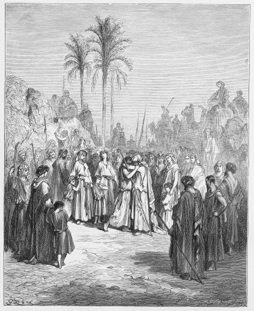 testaments: Jacob and Esau meet again - Picture from The Holy Scriptures, Old and New Testaments books collection published in 1885, Stuttgart-Germany. Drawings by Gustave Dore. Editorial