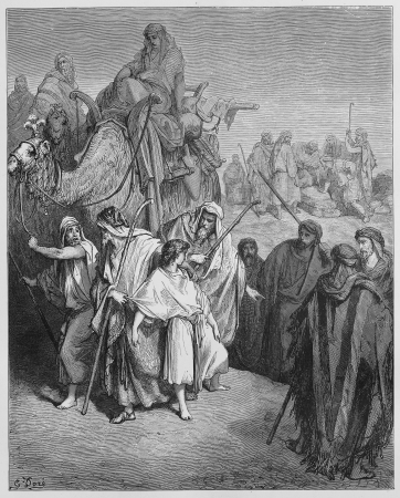 Joseph is sold Into slavery by his brothers - Picture from The Holy Scriptures, Old and New Testaments books collection published in 1885, Stuttgart-Germany. Drawings by Gustave Dore.