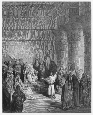holy bible: Joseph interprets Pharaohs dream - Picture from The Holy Scriptures, Old and New Testaments books collection published in 1885, Stuttgart-Germany. Drawings by Gustave Dore.  Editorial