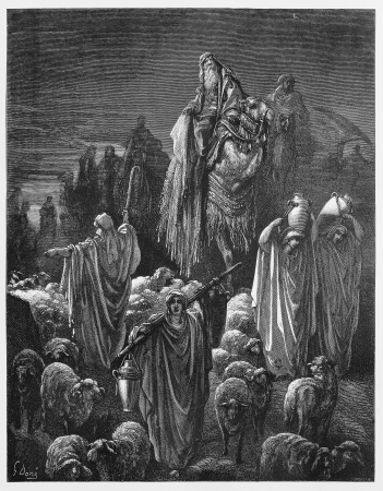 testaments: Jacob moved to Egypt - Picture from The Holy Scriptures, Old and New Testaments books collection published in 1885, Stuttgart-Germany. Drawings by Gustave Dore.