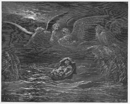 Moses on the river Nile in a basket - Picture from The Holy Scriptures, Old and New Testaments books collection published in 1885, Stuttgart-Germany. Drawings by Gustave Dore.