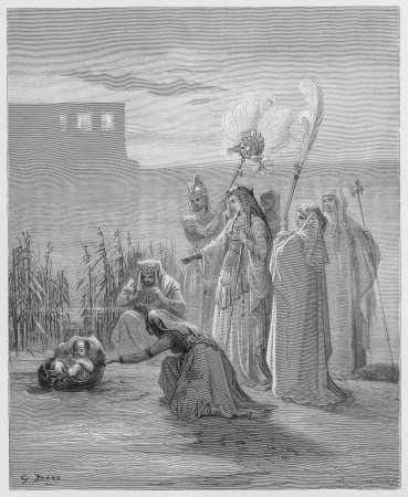 The finding of Moses - Picture from The Holy Scriptures, Old and New Testaments books collection published in 1885, Stuttgart-Germany. Drawings by Gustave Dore.  Editorial