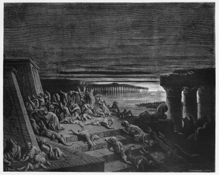 The plague of darkness strikes Egypt - Picture from The Holy Scriptures, Old and New Testaments books collection published in 1885, Stuttgart-Germany. Drawings by Gustave Dore.