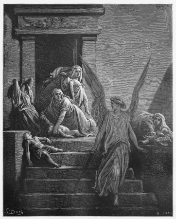 biblical: The firstborn of Egypt are slain in the final plague - Picture from The Holy Scriptures, Old and New Testaments books collection published in 1885, Stuttgart-Germany. Drawings by Gustave Dore.