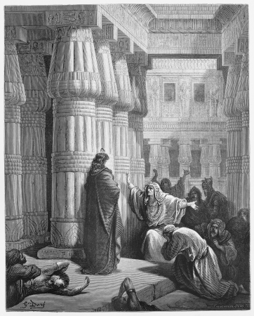 moses: Pharaoh orders Moses to take the Israelites out of Egypt - Picture from The Holy Scriptures, Old and New Testaments books collection published in 1885, Stuttgart-Germany. Drawings by Gustave Dore.