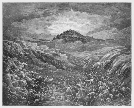 moses: The Egyptians are drowned in the Red Sea - Picture from The Holy Scriptures, Old and New Testaments books collection published in 1885, Stuttgart-Germany. Drawings by Gustave Dore.