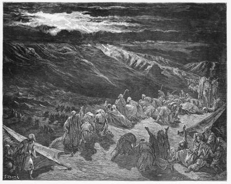 sinai: The giving of the Law upon Mt. Sinai - Picture from The Holy Scriptures, Old and New Testaments books collection published in 1885, Stuttgart-Germany. Drawings by Gustave Dore.